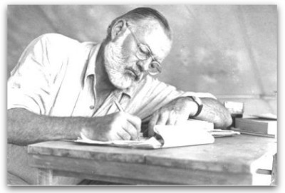 photo of Hemingway handwriting at his desk.