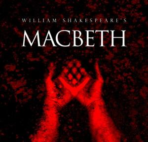 image of blood red hands and title Macbeth